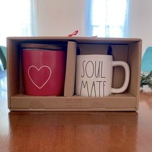 Rae Dunn Baby Red Heart Canister and Soul Mate Mug